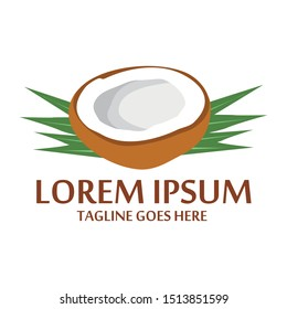 Coconut logo. Ripe coco and half coconut and leaves with letters. Vector and editable template