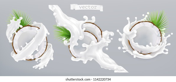 Coconut and milk splash. 3d realistic vector icon