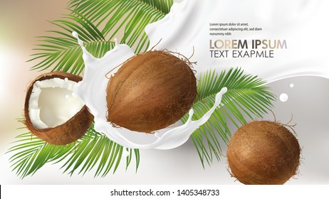 Coconut milk splash swirl realistic vector background. White liquid organic milk on background of tropical cracked and whole coconut with creamy texture and green palm leaves, vegan drink design pack