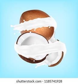 Coconut in a milk splash. Vector illustration. EPS10