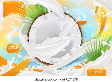 Coconut milk. White cream splash. 3d realistic vector package design