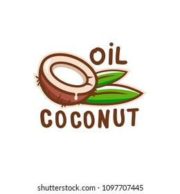 Coconut oil logo. Organic natural product vector emblem.
