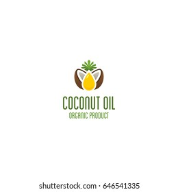 Coconut oil logo. Organic product vector emblem.