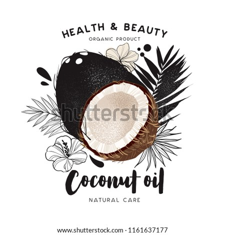 coconut oil template packaging cosmetics labels stock vector