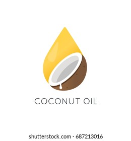 Coconut oil vector logo. Packaging design element and icon