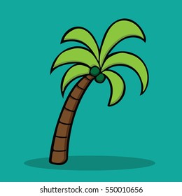 Coconut Palm Tree In Cartoon Free Style Hand Drawn Illustration Vector Isolated