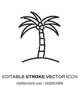 Coconut palm tree line icon. Outline symbol of tropical islands and beaches. Editable stroke flat vector illustration.