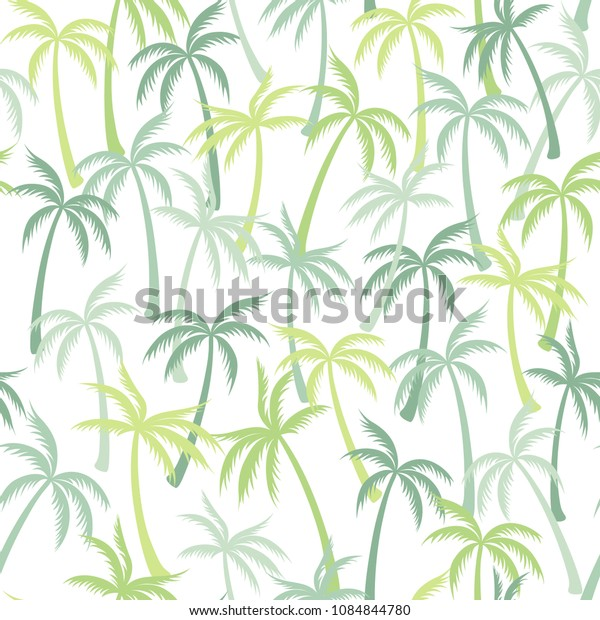 Coconut palm tree pattern textile seamless tropical forest background. Paradise vector fabric repeating pattern. Marvelous tropical plants, coconut trees, beach palms textile background design.