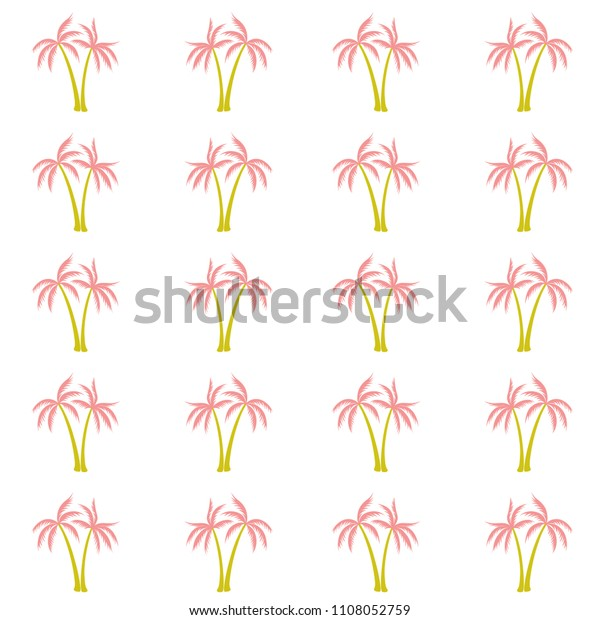 Coconut Palm Tree Pattern Textile Material Stock Vector