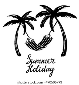 Coconut palm trees. Hammock. Logo, icon, hand drawn. Summer holiday handwritten, calligraphy text, lettering. Isolated on white background. Vector design