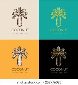 coconut palm vintage logo or symbol