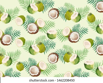 Coconut Print with leaves, Beige Background