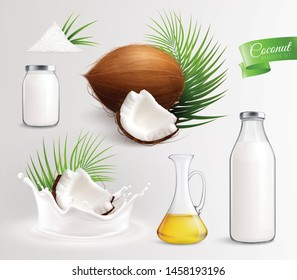 Coconut products set with realistic images of coconut fruits leaves oil and milk in glass bottles vector illustration