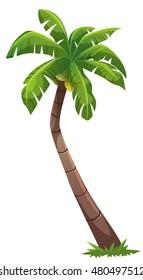 Coconut tree cartoon style, vector art and illustration.