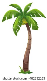 Coconut tree cartoon style, vector art and illustration.