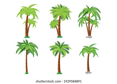 coconut tree collection, simple vector illustrations