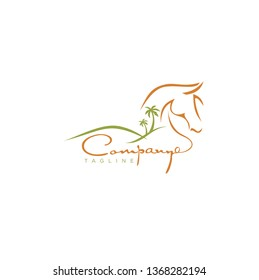 Coconut Tree with Desert Horse Logo Template