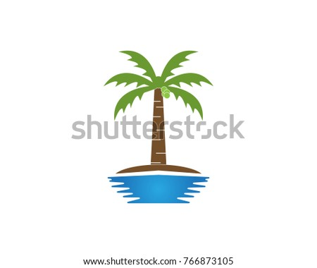 coconut tree logo design template stock vector royalty free