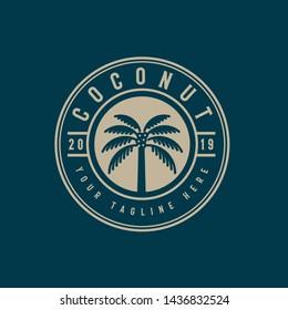 Coconut tree logo emblem.palm tree with emblem style