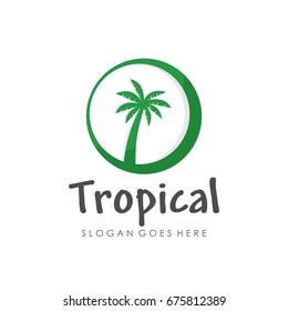 Coconut tree and summer theme logo template design