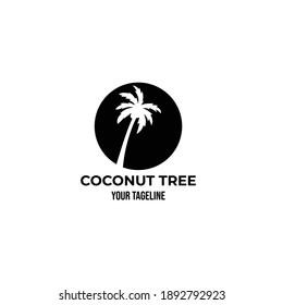 coconut tree vintage logo minimalist vector symbol illustration design