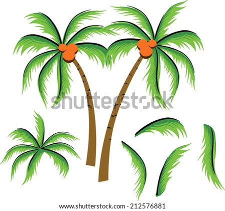 Coconut Trees Beautiful Drawing Stock Vector Royalty Free