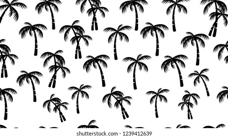 Coconut trees seamless pattern silhouette on white background vector eps 10