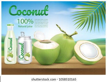 coconut water ads illustration vector