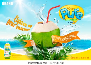 Coconut water with refreshing liquid splashing out from the fruit with red straw, bokeh summer beach background in 3d illustration
