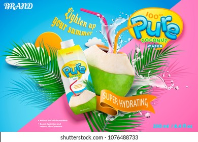 Coconut water with refreshing liquid splashing out from the fruit with red straw in 3d illustration, geometric background
