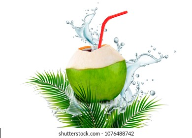 Coconut water with splashing drink and straw in 3d illustration on plam leaves white background