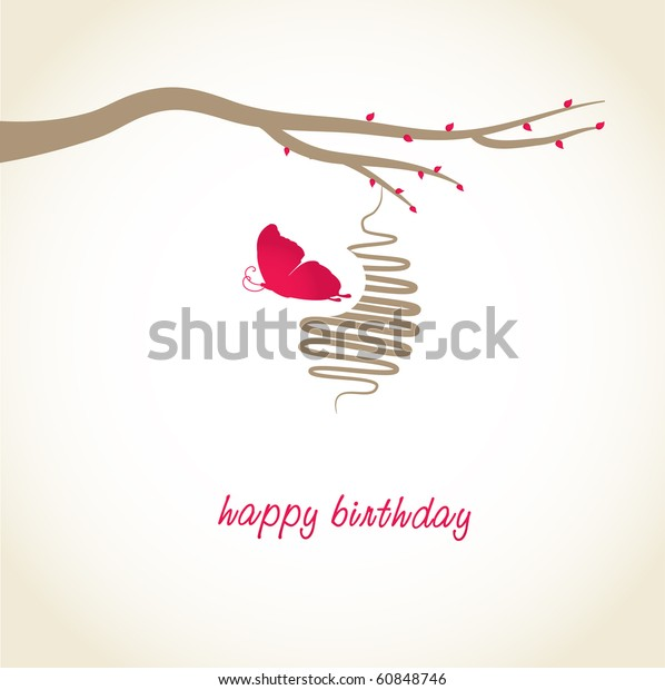 Cocoon butterfly. Birthday card