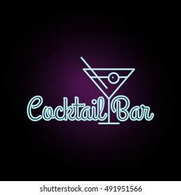 Coctail Bar neon logo design. Isolated on black background. Retro/vintage neon sign. Design element for your ad, signs, posters, banners. Vector illustration