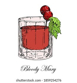 Coctail Bloody Mary with cherry tomatoes and celery leaves. Vektor.Hand Drawn Bloody Mary Sketch on white background.