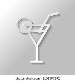 Coctail glass. Simple linear icon with thin outline. Paper style with shadow on gray background