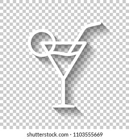 Coctail glass. Simple linear icon with thin outline. White icon with shadow on transparent background