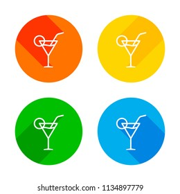 Coctail glass. Simple linear icon with thin outline. Flat white icon on colored circles background. Four different long shadows in each corners