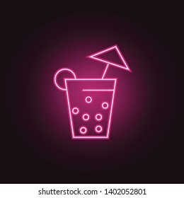 Coctail neon icon. Elements of Party set. Simple icon for websites, web design, mobile app, info graphics