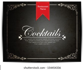 Coctails Menu Card Design template.