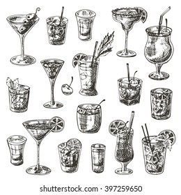 Coctails set. Hand drawn vector illustration. Martini, bloody mary, punch, daiquiri, margarita, vodka, gin, tequila, B-52, manhattan, negroni, cosmopolitan, mojito, pina colada, kamikaze and other.