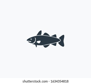 Cod fish icon isolated on clean background. Cod fish icon concept drawing icon in modern style. Vector illustration for your web mobile logo app UI design.