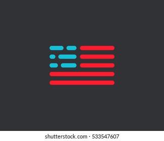 Code american flag logo design. USA patriot tech vector logotype. Moving digital line symbol.