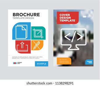 Code brochure flyer design template with abstract photo background, Pen, Crop, Download, Document minimalist trend business corporate roll up, icon pack