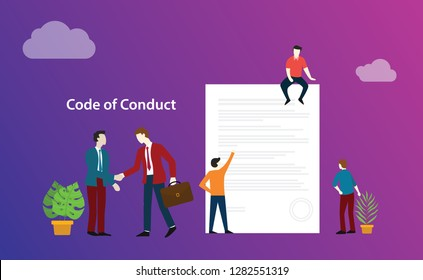 code of conduct business deal with people discuss together on paper document ethics - vector illustration