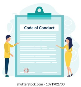Code of Conduct. Business ethics. Business man and woman looking on document on a clipboard paper. Concept of ethical integrity value and ethics. Vector illustration. Flat cartoon style.