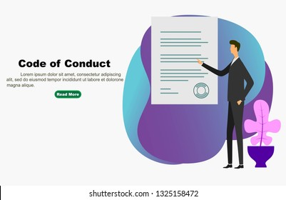 Code of Conduct. business man looking at paper. Concept of ethical integrity value and ethics. Illustration symbol in vector - Vector