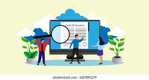Code of Conduct. Concept of ethical integrity value and ethics. Illustration symbol in vector. can use for, landing page, template, ui, web, mobile app, poster, banner, flyer