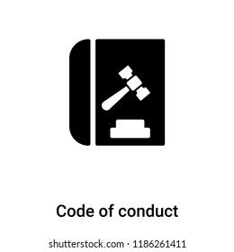 Code of conduct icon vector isolated on white background, logo concept of Code of conduct sign on transparent background, filled black symbol