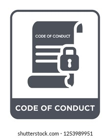 code of conduct icon vector on white background, code of conduct trendy filled icons from Gdpr collection, code of conduct simple element illustration