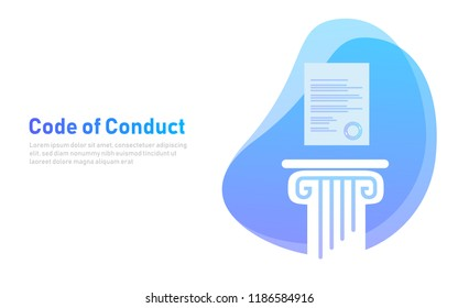 Code of Conduct. Paper on pillar. Concept of ethical integrity value and ethics. Illustration symbol in vector